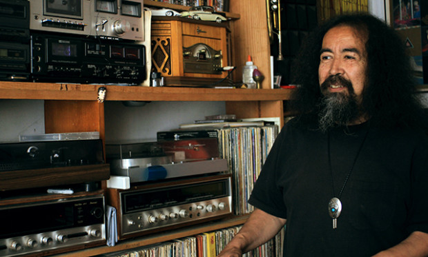 The room where his has his collection of records music devices, and his art. Photo by Claudia Escobar