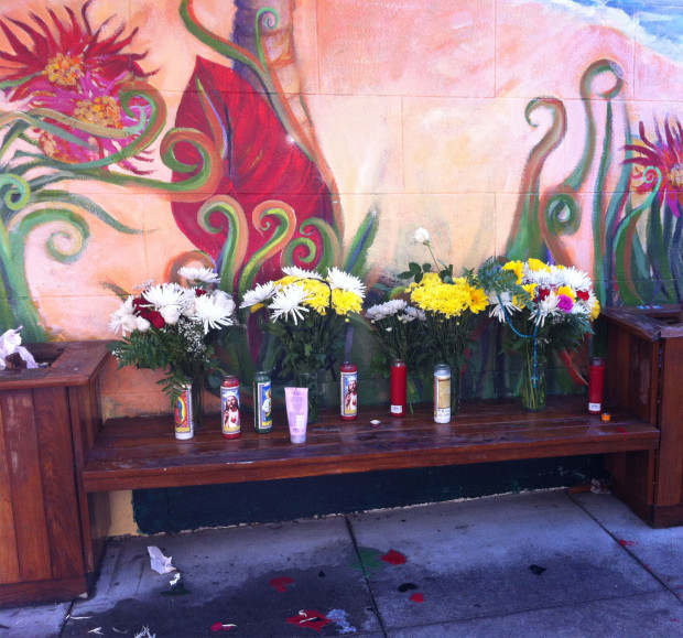 The memorial friends of Marvin Flores arranged for him on 21st and Valencia.