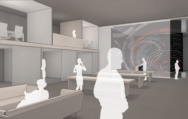 Rendering of future interior of Gray Area Foundation for the Arts renovation of the Grand Theater. Courtesy of Gray Area Foundation for the Arts, rendering by  Envelop A + D.