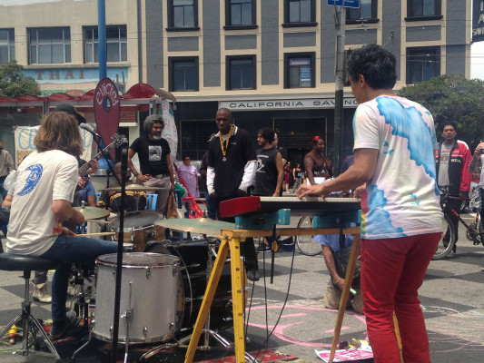 The band Revolt performed at the People's Festival at the 16th and Mission BART plaza on Saturday afternoon.