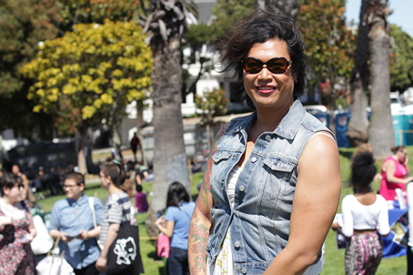 """""""It means a lot being at my first Trans March,"""" said Sarah Fernando a trans-woman who is in the process of transitioning. """"I just went to the doctor for a checkup and my hormones are all good. So, everything is great."""" (Photo by Claudia Escobar)"""