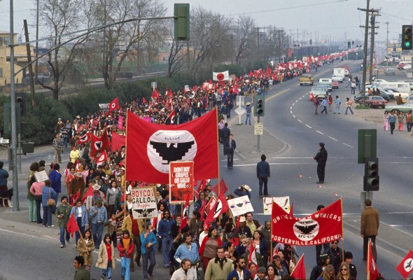 Lou Dematteis, United Farm Workers march against E & J Gallo Winery in Modesto. Photo courtesy of San Francisco Arts Commission.