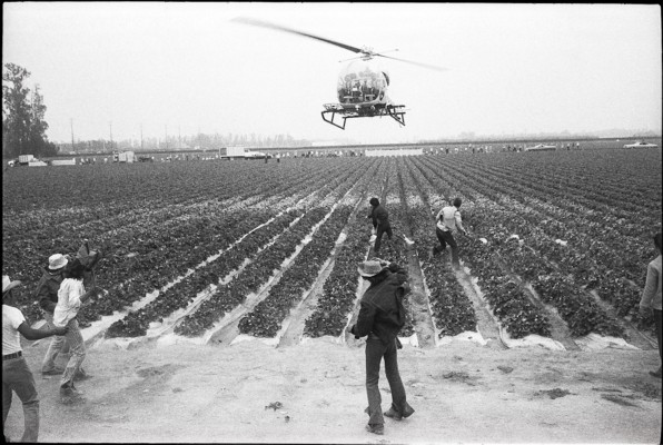 Mimi Plumb, police helicopter over farming fields. Photo courtesy of San Francisco Arts Commission.