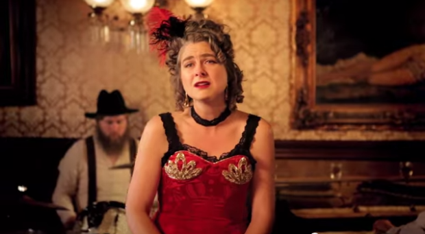 A still from Candace Roberts's cabaret music video