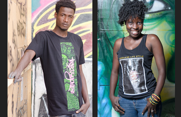 At the Artists' Village, street-wear designers display their creations. Kromagnon models a t-shirt from Big Key's Mizérables label, while Ina Ndeye Fatou Thiam models a tank-top from Malika Diagana's Linguere Life Style.