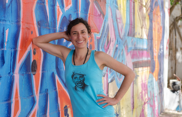 Graffiti artist Nadia Seika from Switzerland models a design from her own street-wear line.