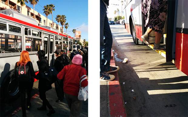 The evening commute at 16th and Mission St. Buses appeared to be running pretty normally.