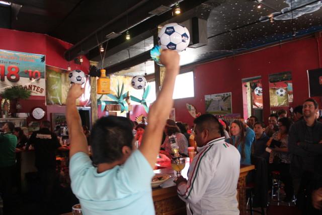 Fans cheer as Germany triumphs over Argentina 1-0. Photo by Joe Rivano Barros.