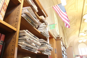 The library has an impressive collection of daily newspapers upstairs, and more than a few local papers and magazines downstairs. Their collection of Mission Local, sadly, had run out. Photo by Joe Rivano Barros.