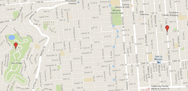 One robbery occurred at South Van Ness and 21st St., the other in Twin Peaks.