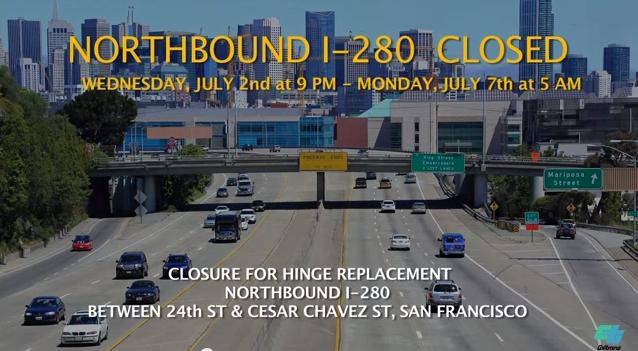 Weekend closures on Northbound I-280 starting Thursday night, according to Caltrans.