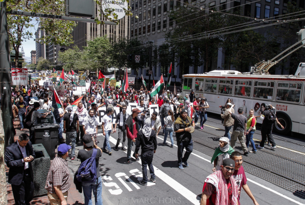 "More than 800 people congregated in downtown San Francisco to protest Israel's air strikes on Gaza. Photo by <a href=""http://2greenprints.4ormat.com/palestine-gallery"">Marc Hors</a>"