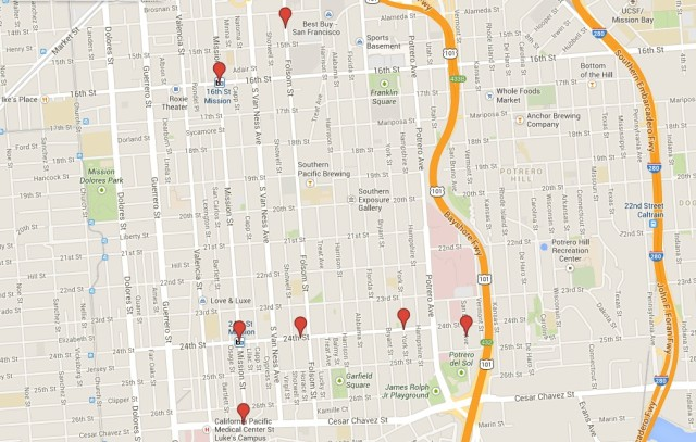 Five robberies, one hot prowl and one case of arson took place this weekend in the Mission. Screenshot from Google Maps.