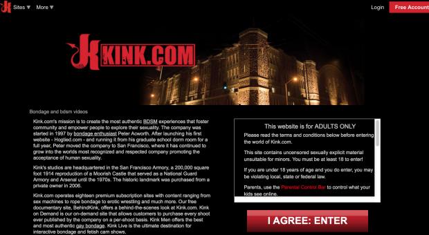 Screenshot of Kink.com's welcome page.