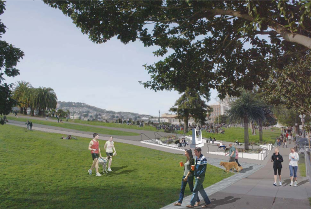 Rendering of Mexico Liberty Bell's new location. Courtesy of San Francisco Recreation and Parks Department.