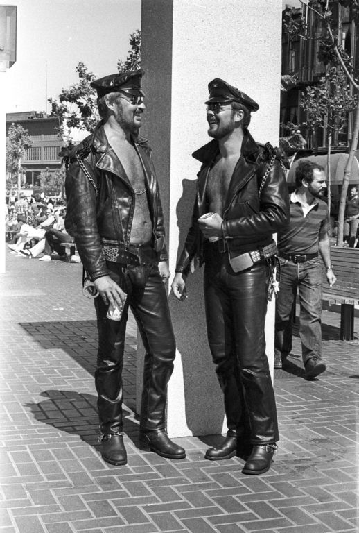 Leather enthusiasts at the 1978 San Francisco Gay Day Parade. Courtesy of the Gay, Lesbian, Bisexual, Transgender Historical Society.
