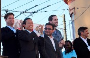 David Chiu (second from right) and David Campos (center) were all smiles in the summer of 2013. Photo by Daniel Hirsch.