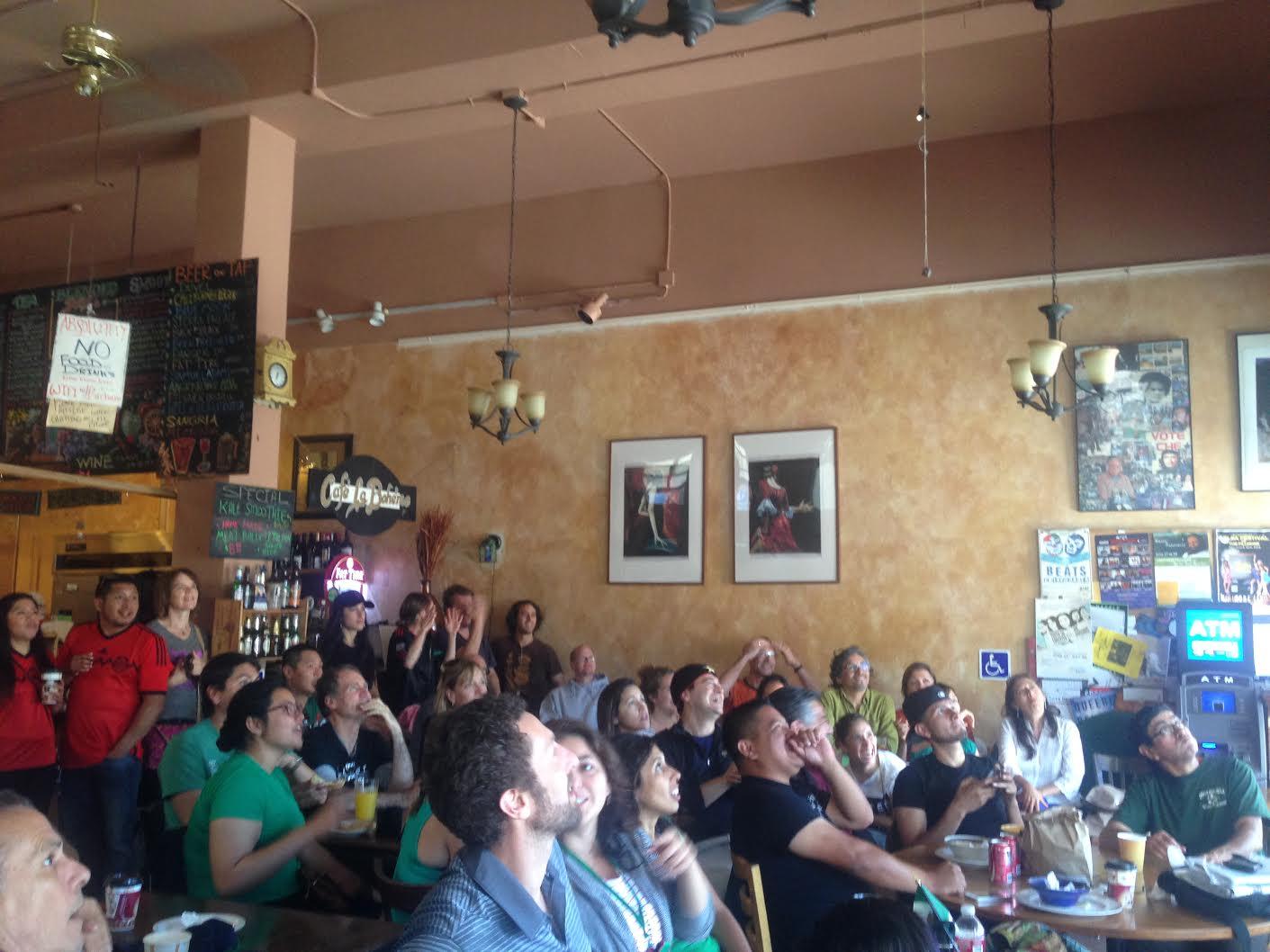 World Cup fans at La Boheme. Photo by Cristina Abellan-Matamoros.