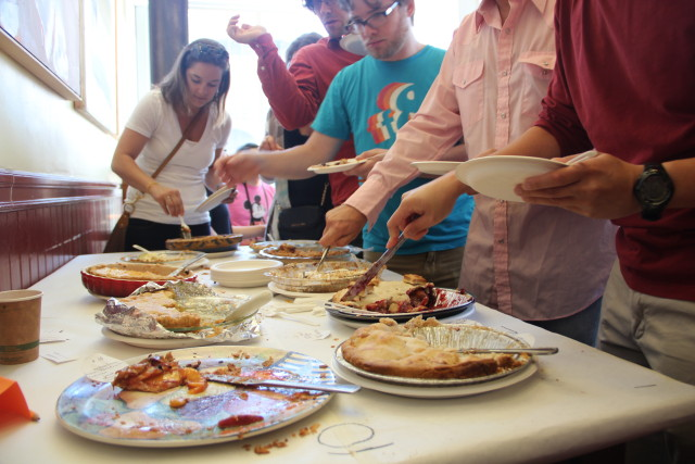 The (free) pies were reduced to crumbs within 20 minutes by ravenous crowds. Photo by Joe Rivano Barros.