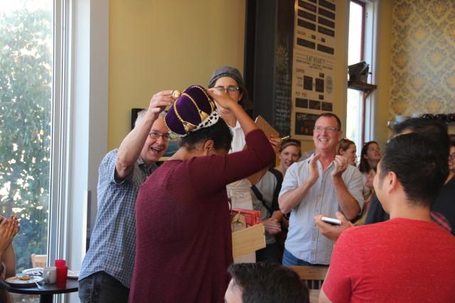 Christopher Hall crowning this year's winner, Olivia Thomas. Photo by Joe Rivano Barros.