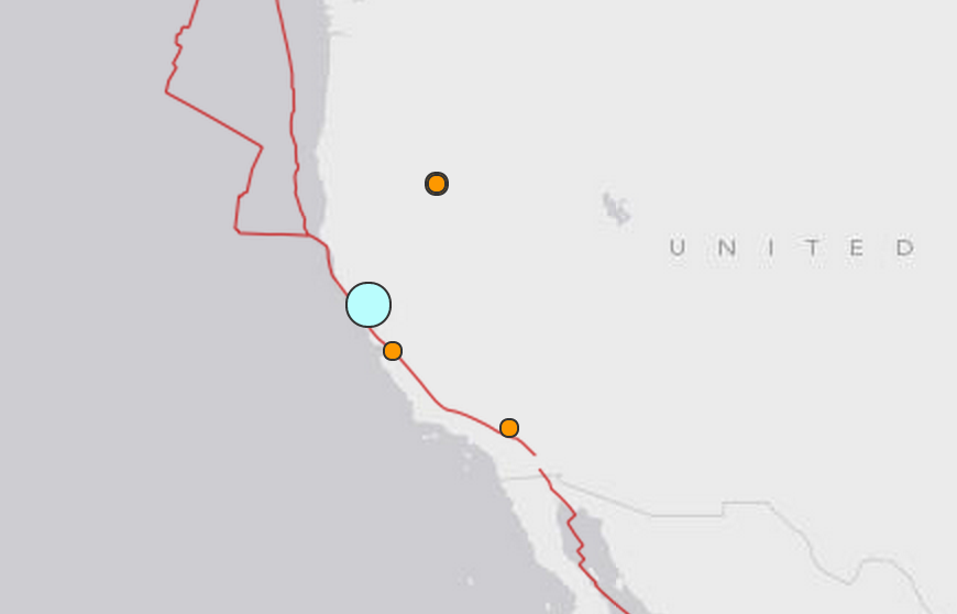 Screenshot from the US Geological Survey.  The blue dot is this morning's earthquake.