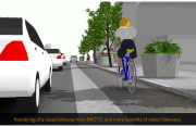 Courtesy of the Bike Coalition. Rendering of a raised bikeway.