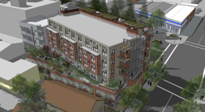 Axis Development's rejected plans for 2701 Shattuck Avenue in Berkeley. Courtesy Lowney Architects.