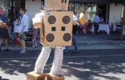 """A robot dancing to A-ha's """"Take on Me"""" at Sunday Streets in the Mission. Photo by Joe Rivano Barros and Laura Wenus."""