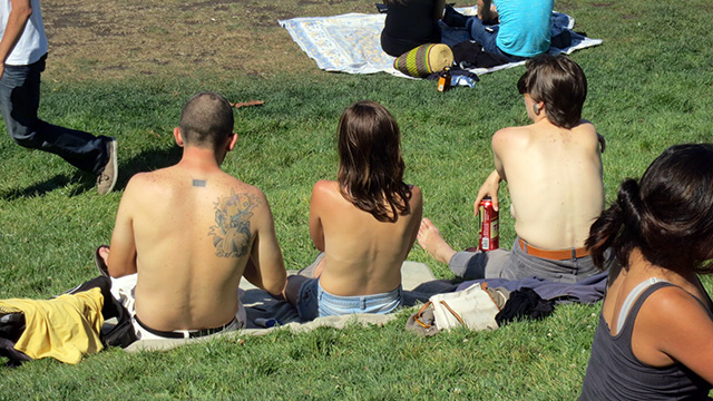 Bare and At Home in Dolores Park