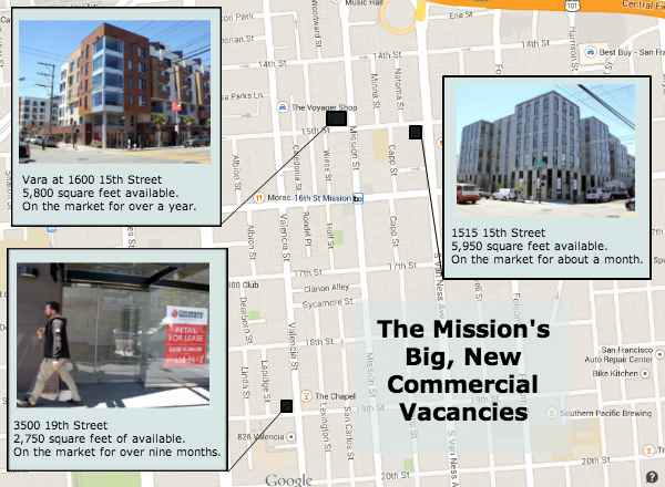 New, big commercial vacancies in the Mission. CLICK MAP TO SEE FULL SIZE