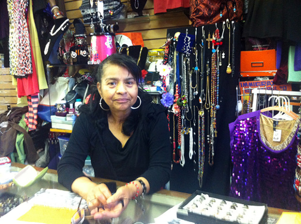 Gloria Esteva at her shop on Mission Street and 24th.