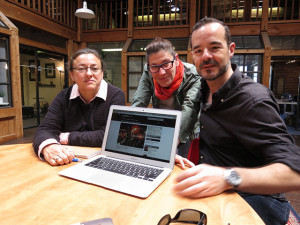 The team: Isabel Arcones, Marta Arribas,  and  Santiago Corredoira. This was taken in the spring before their iPhone launch.