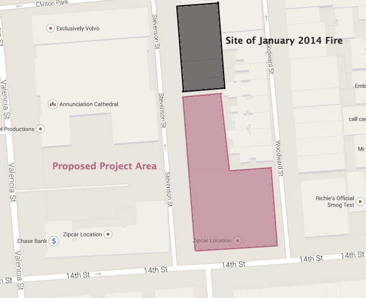 Map of proposed project site on Stevenson and 14th. CLICK TO ENLARGE.