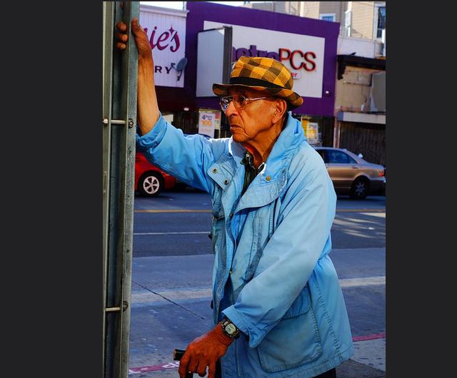SNAP: Blue at Bus Stop