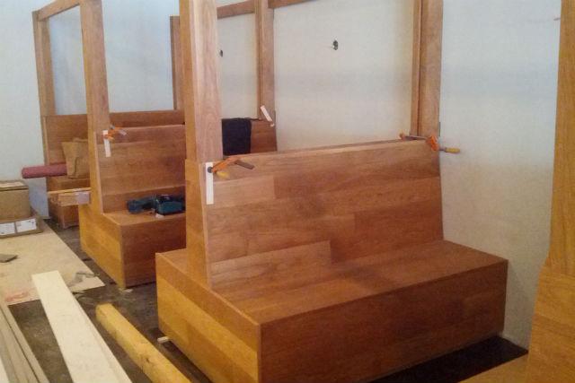 The wooden interior of Hapa Ramen under construction. Photo by Daniel Hirsch.