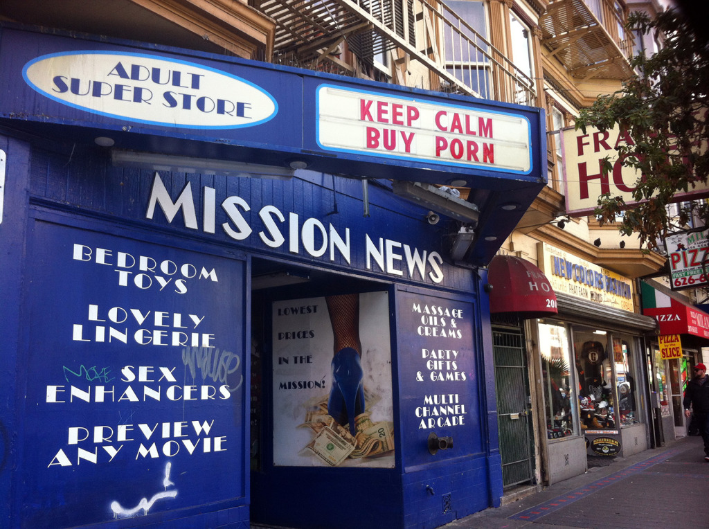 """The former facade of Mission Secrets. """"Mission News – a lot of people thouht we were a news stand, they though we sold magazines,"""" said Rick Crawshaw, who manages this and other stores owned by Adul Maga Store."""