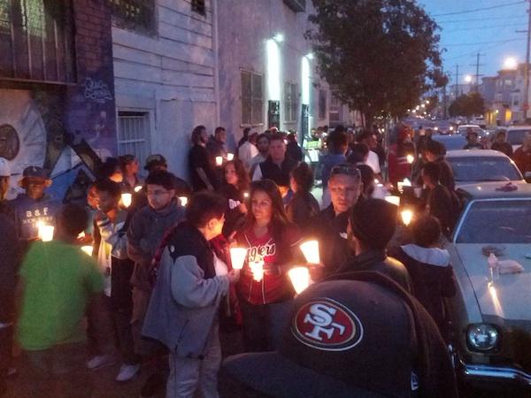 Mourners gather to remember Rashawn Williams. Photo by Daniel Hirsch.