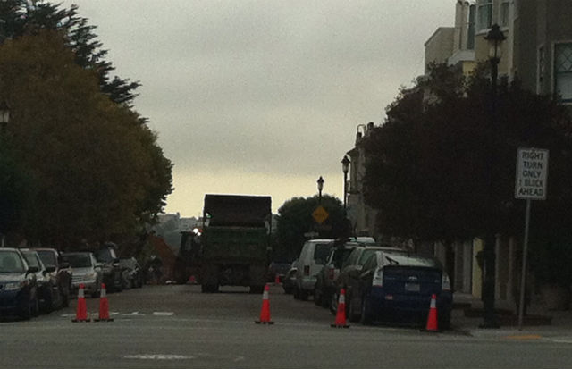 Traffic blocked on 21st Street for the second day in a row. Photo courtesy of Mission Local reader.