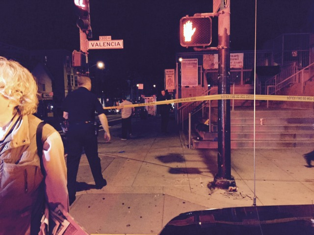 Crime scene taped off at Valencia and 24th Street. Photo by Lydia Chavez.