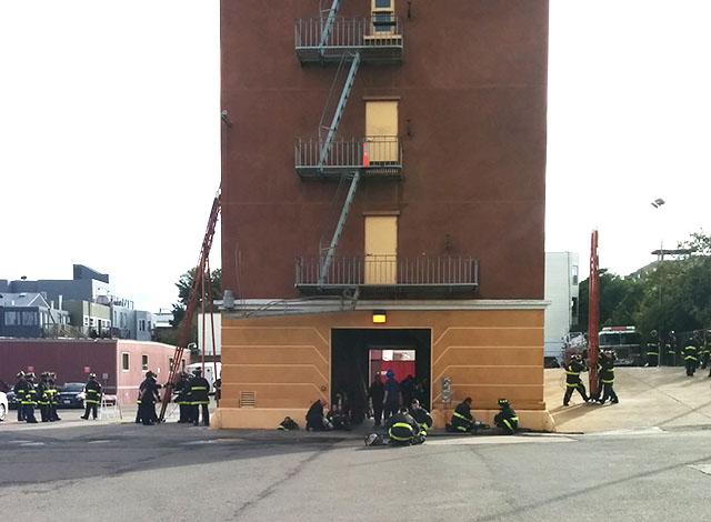 Firefighters-To-Be Train On Ladders
