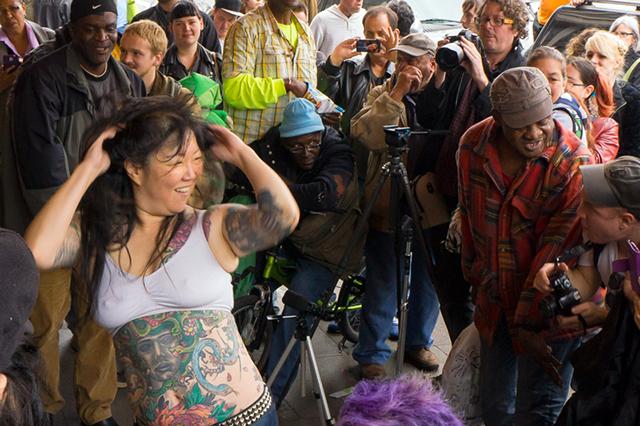 Comedian Margaret Cho Busks for the Homeless
