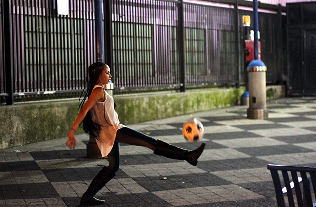 I was roaming around the Mission one weekday night and the streets felt unusually lively. There were groups of locals, as well as visitors, collecting at various dining locations, both inside and out. I noticed this young lady dribbling the soccer ball with an older gentleman above the BART station at 16th and Mission streets. I snapped a few flicks and then joined in on the fun. Shortly thereafter we had about a dozen people cheering us on to keep the ball in the air! I forgot where i was! New players of all ages began to have a go at it and just then I remembered how much I loved my Home. There is never a dull moment in the Mission District and I love it !   Photo by Daniel Mondragón