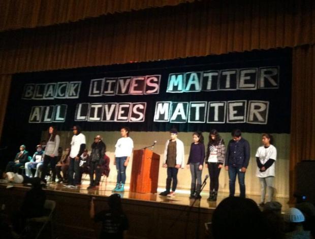Student's of June Jordan High School speaking at Mike Brown solidarity. Photo via SFUSD/Twitter.