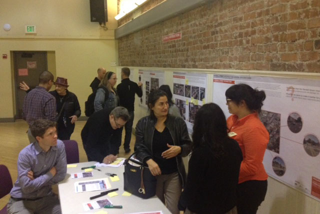 Residents discuss improvement proposals for the Mission Street corridor with planners. Photo by Laura Wenus