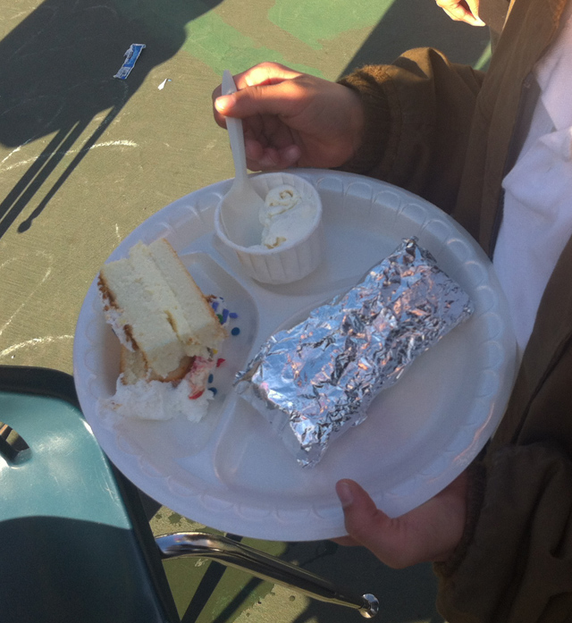 Students received a slice of cake, a hot dog and ice cream. Photo by Andrea Valencia