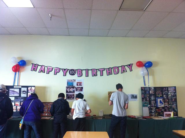A Happy Birthday sign celebrating the school's 100th anniversary. Photo by Andrea Valencia