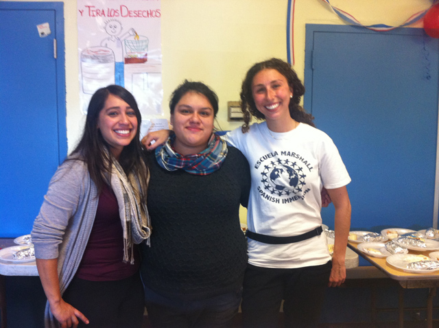 From left to right: Diana Caracosa, Mission Graduates coordinator of 2nd graders, Cristina López, Mission Graduates coordinator of 5th graders, and Elizabeth Moorhatch, playworks coach. Photo by Andrea Valencia