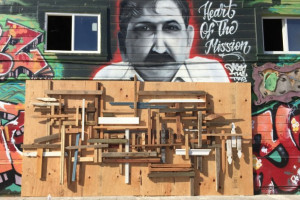 Wood collage put on top of the Heart of the Mission mural in late 2014