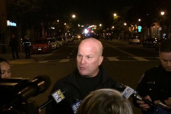 Police Chief Suhr talking to reporters at the scene of the shooting. Photo by Daniel Mondragón