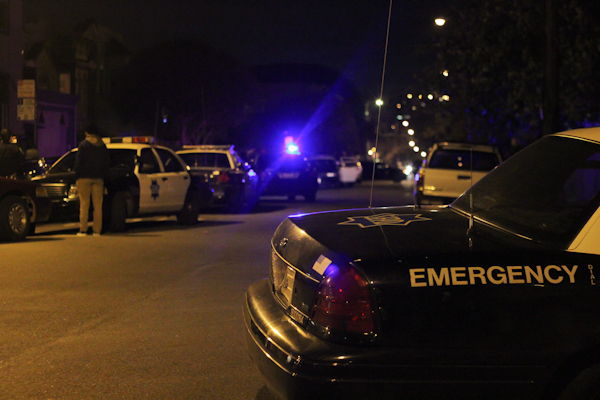 There were up to 15 police cars at the site of the incident including two sheriff's cars.  Photo by Daniel Mondragón